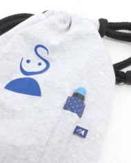 Rucksack zum Bemalen in Blau mit Etikett