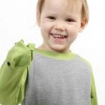 Der freche Froschi – Longsleeve mit Handpuppe am Ärmel – Grün-Grau