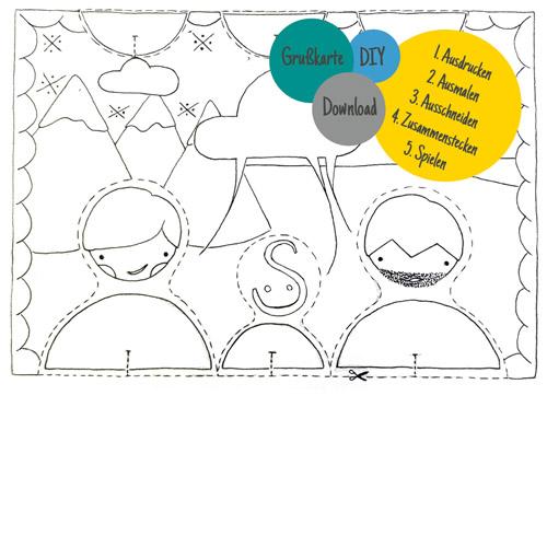 Spielmode-Grußkarte mit Spielfiguren